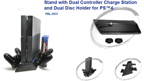 Stand with Dual Controller Charge Station for PS4